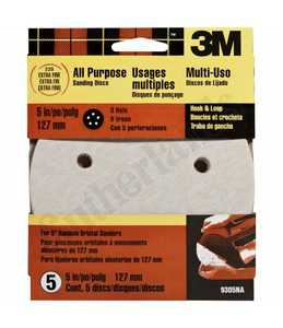 3M 9305NA 5 In 5 Hole Hook And Loop Dust Free Sanding Disc 220 Grit