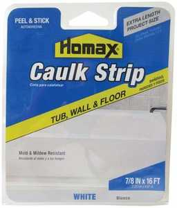 Homax Group 34030 Tub and Tile Caulking Strip 1-1/4 in x5 ft White