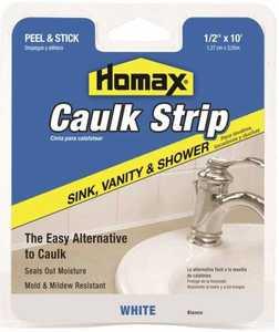Homax Group 38 Tub and Tile Caulking Strip 1/2 in x10 ft White