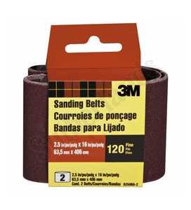 3M 9250NA-2 Sanding Belt 2-1/2x16 Fine Heavy Duty 2pack