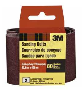 3M 9251NA-2 Sanding Belt 2-1/2x16 Med Heavy Duty 2pack
