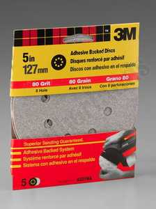 3M 9321NA 5 in 8 Hole Adhesive Backed Dust Free Sanding Disc 80 Grit