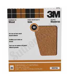 3M 88597NA Sandpaper Garnet 9x11 60d 25pk