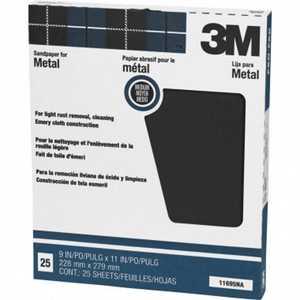 3M 11695NA Emery Sandpaper For Metal Medium Grit, 25 Pack