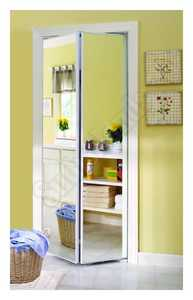 Home Decor Innovations 24-3873 Accent Mirror Bifold Door 221 Bright White 30x80