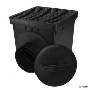 NDS 0909SD2KB 9 In Square Double Outlet Catch Basin Kit, Black