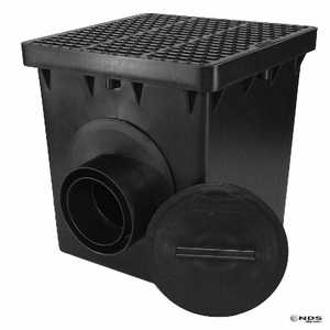 NDS 1212SD2KB 12 In Square Double Outlet Catch Basin Kit, Black