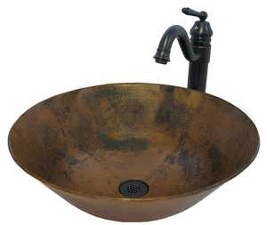 Novatto CV002NA359ORB Traditional Round Copper Vessel With Traditional Faucet And Strainer Drain, Natural Finish