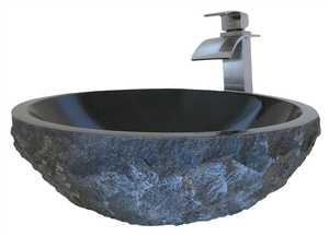 Novatto NSFC-AN136BN Modern/Transitional Absolute Granite Vessel With Brushed Nickel Faucet And Strainer Drain, Natural