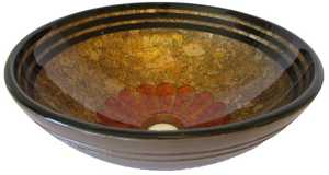 Novatto NOHP-G024 Tappezzeria Hand Painted Glass Vessel Sink 16.5 In