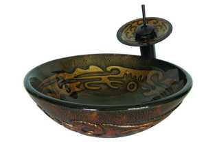 Novatto NOHP-G032 Mosaico Brown With Tan Mosaic Pattern Hand Painted Glass Vessel Sink 16.5 In