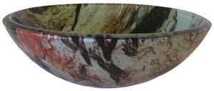 Novatto TID-043 Cullare Round Glass Vessel Sink Natural Rock Pattern 16.5 In