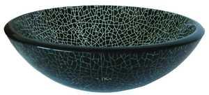 Novatto TID-178 Glass Vessel Sink Black/Clear Crackled
