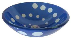 Novatto TID-264 Glass Vessel Sink Black/Clear Swirl Dots