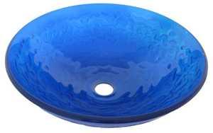 Novatto TIG-8079 Mare Blue Ocean Blue Round Glass Vessel Sink 16.5 In