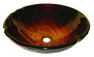 Novatto TIG-S90 Rovente Red And Gold Screen Painted Glass Vessel Sink 16.5 In