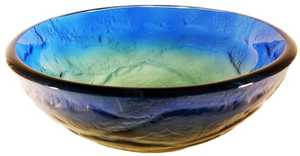 Novatto TIS-191 Mare Blue Yellow And Green Swirled Round Glass Vessel Sink 16.5 In