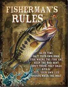 Nostalgic Images OD-1870 Fisherman's Rules Metal Sign