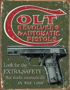 Nostalgic Images OD-1592 Colt Extra Safety Metal Sign