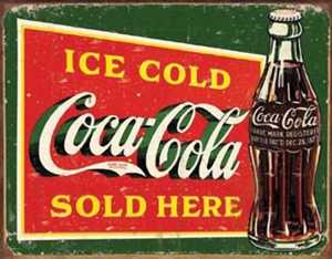 Nostalgic Images CC-1393 Ice Cold Coca-Cola Sold Here Metal Sign