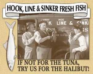 Nostalgic Images PD-664 The Three Stooges Fresh Fish Metal Sign