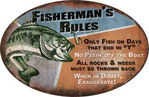 Nostalgic Images OR-1537 Fisherman's Rules Metal Sign