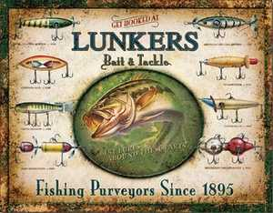 Nostalgic Images OD-1757 Lunker's Bait And Tackle Lures Metal Sign