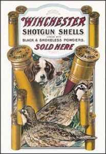 Nostalgic Images OD-940 Winchester Shotgun Shells Dog And Quail Metal Sign