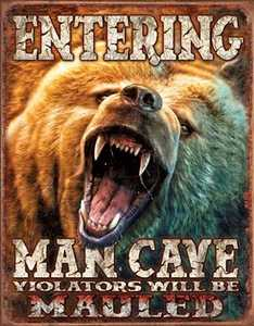 Nostalgic Images CD-1817 Man Cave Grizzly Metal Sign