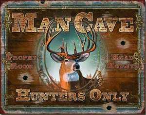Nostalgic Images OD-1935 Man Cave Hunters Only Metal Sign