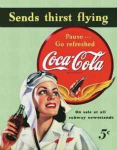 Nostalgic Images CC-1045 Coca-Cola Sends Thirst Flying Metal Sign