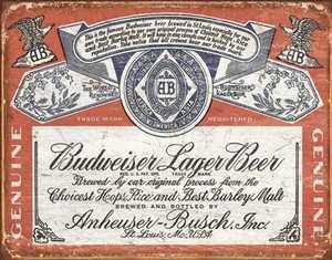 Nostalgic Images BD-1751 Budweiser Historic Label Metal Sign