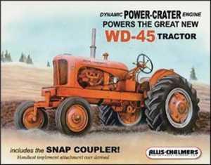 Nostalgic Images TD-1167 Allis Chalmers Wd45 Metal Sign