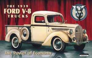 Nostalgic Images TD-707 1939 Ford V-8 Truck Metal Sign