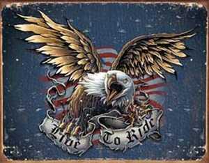 Nostalgic Images TD-1441 Live To Ride Eagle Metal Sign