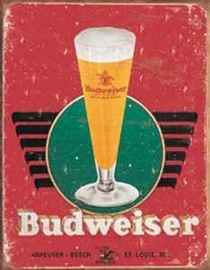 Nostalgic Images BD-1483 Budweiser Retro Glass Logo Metal Sign
