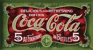 Nostalgic Images CC-1074 Coca-Cola 1900s Five Cents Metal Sign