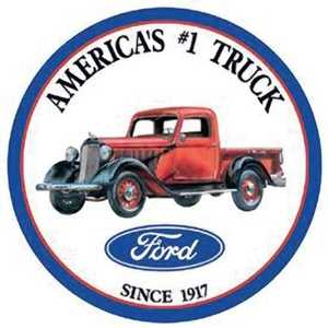 Nostalgic Images TD-1009 Ford America's #1 Truck Round Metal Sign