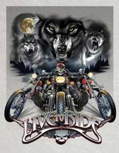Nostalgic Images TD-1442 Live To Ride Wolves Metal Sign
