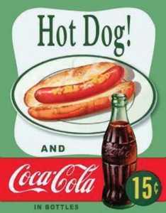 Nostalgic Images CC-1048 Coca-Cola Hot Dog Metal Sign