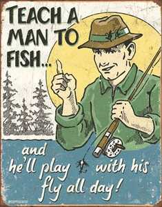 Nostalgic Images CD-1694 Teach A Man To Fish Metal Sign