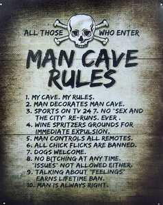Nostalgic Images CG-761 Man Cave Rules Metal Sign