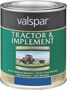 Valspar 4432-12 Interior/Exterior Tractor And Implement Enamel Paint Ford Blue High-Gloss Finish Quart