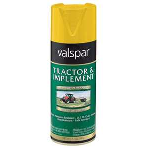 Valspar 5339-07 Interior/Exterior Tractor And Implement Enamel Spray Paint Transport Yellow High-Gloss Finish 12-Ounce Can