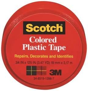 Scotch 190RD .75-Inch X 3.47-Yard Red Plastic Tape