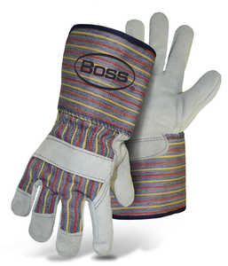 Boss Gloves 4046 Cowhide Leather Palm Gloves With Gauntlet Cuff, Large