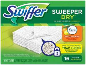 Procter & Gamble 37362 Swiffer Sweeper Dry Sweeping Pad Refills With Febreeze Sweet Citrus And Zest Scent, 16 Count