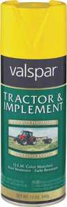 Valspar 5339-06 Interior/Exterior Tractor And Implement Enamel Spray Paint John Deere Yellow High-Gloss Finish 12-Ounce Can