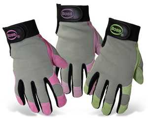Boss Gloves 790 Boss Guard Ladies' Split Leather Palm Gloves With Lycra Back, Medium
