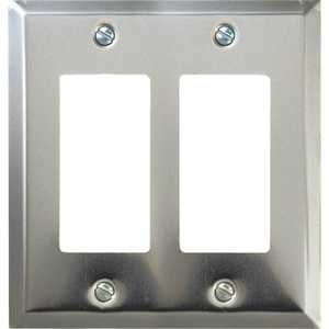 AmerTac 161RR Century Polished Chrome Steel 2-Rocker Wallplate